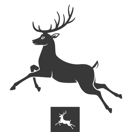 deer hunting: Running deer Illustration