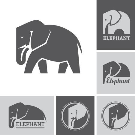 circular silhouette: Elephant icons and symbols Illustration