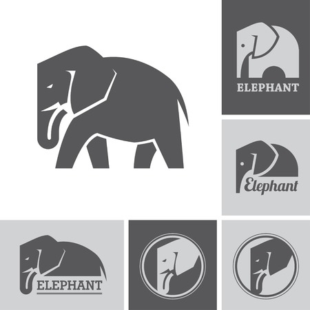 Elephant icons and symbols Illustration