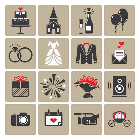 wedding bride: Colored square wedding icons Illustration