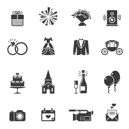 Black wedding icons  イラスト・ベクター素材