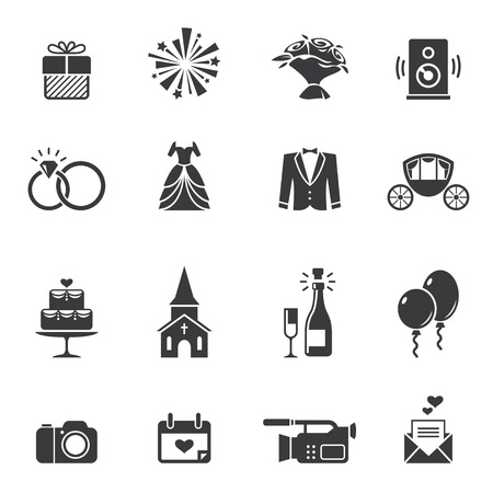 Black wedding icons Vectores