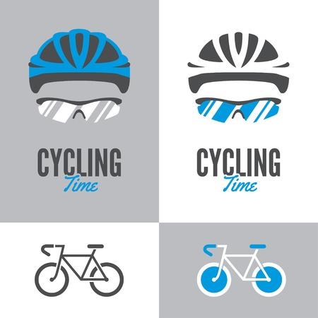 ciclista: Icono de la bicicleta y el signo gráfico con el ciclismo casco y gafas en dos variaciones de color