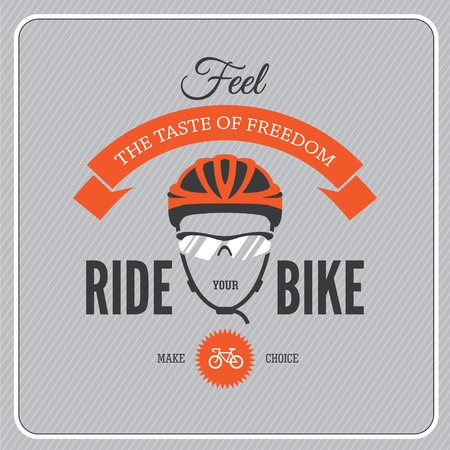 bicycle icon: Cycling motivational poster with cycling helmet and glasses Illustration