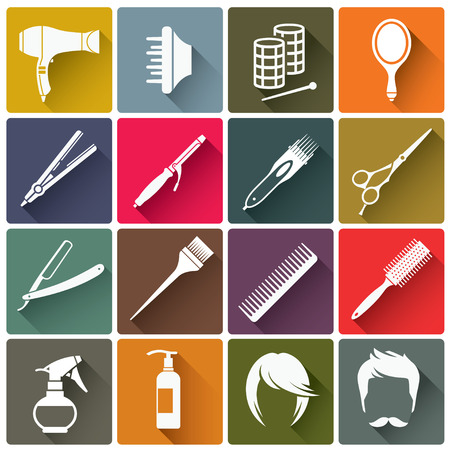 set of men hair styling: Set of square colorful  hairdressing equipment icons with long shadow