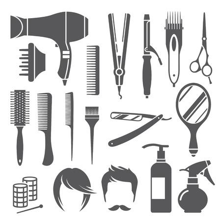 Conjunto de símbolos negros de peluquería equipos aislados sobre fondo blanco