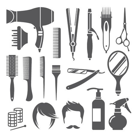 the iron lady: Set of black hairdressing equipment symbols isolated on white background Illustration