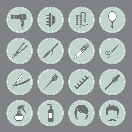 hair brush: Set of round blue hairdressing equipment icons on gray background