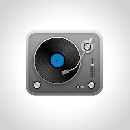 vinyl disk player: Realistic turntable illustration