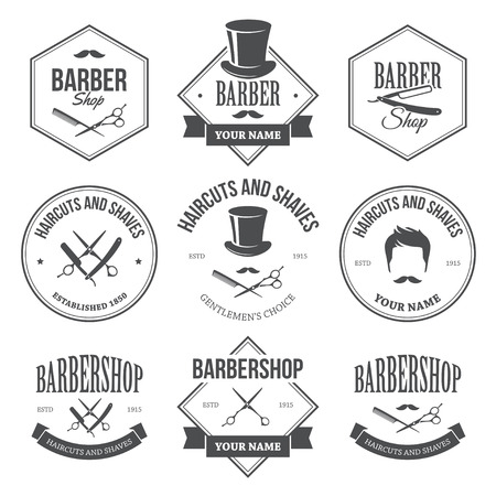 straight razor: Barber Shop Labels Illustration