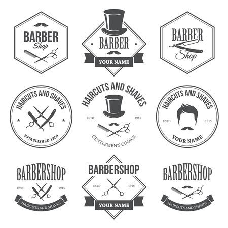 Barber Shop Labels Illustration