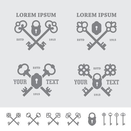 Etiketten met gekruiste sleutels Stock Illustratie