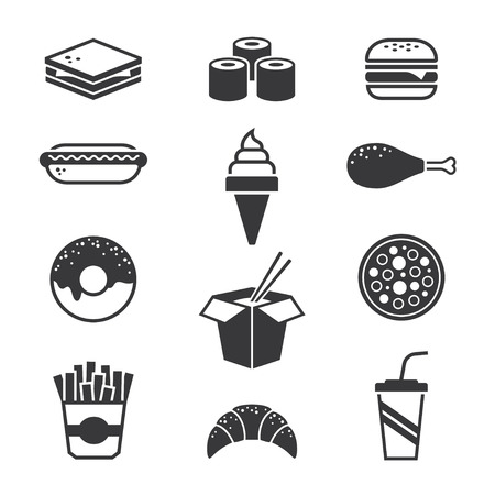 sandwich restaurant: Black fast food icons