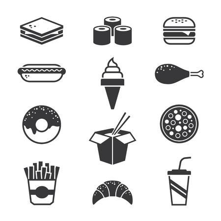 bocadillo: Negro iconos de comida rápida
