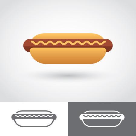 perro comiendo: Icono de Hot Dog Vectores
