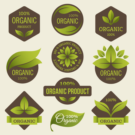 farms: Organic products labels Illustration