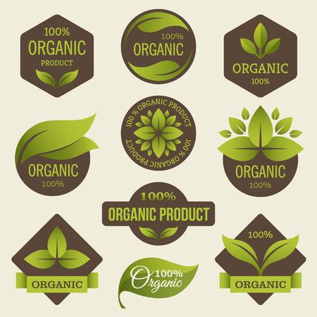 naturaleza: Productos orgánicos etiquetas Vectores
