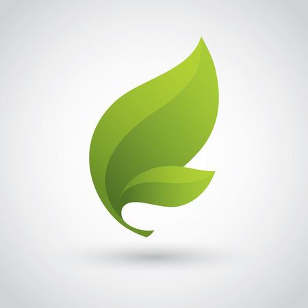 saludable logo: Icono verde de la hoja Vectores