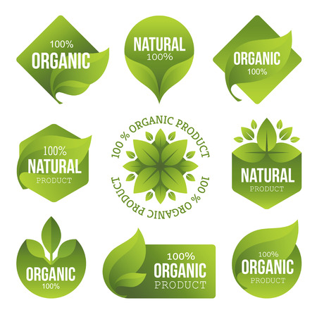 Green Organic Products Labels Stok Fotoğraf - 39435037