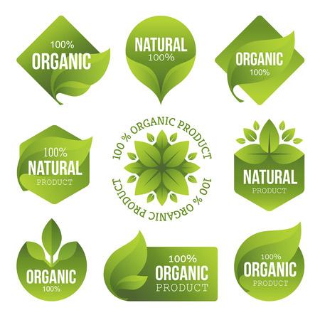 logo de comida: Verdes Productos Org�nicos etiquetas Vectores