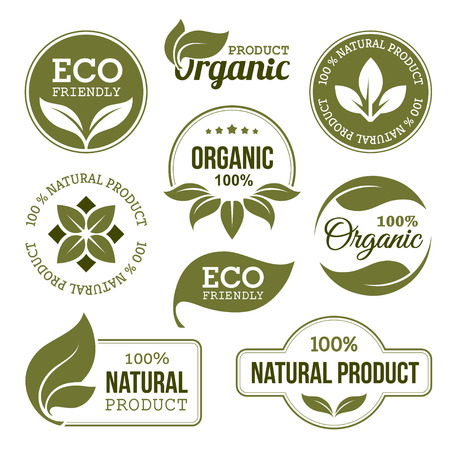 ecology icons: Green Organic Products Labels