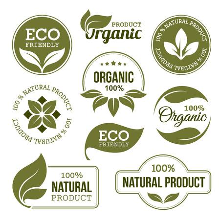 přátelský: Zelené ekologických produktů Štítky Ilustrace