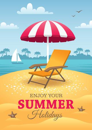 여름 휴일 포스터 일러스트
