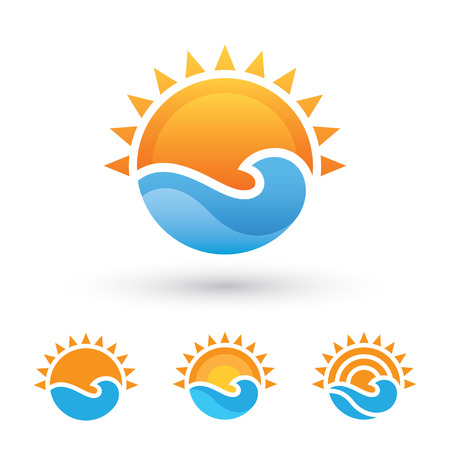 sunny beach: Sun and sea symbol