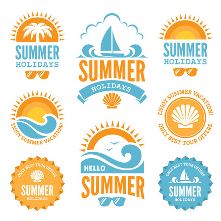 sea waves: Blue and Orange Summer Holidays Labels