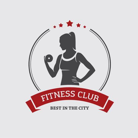 fitness: Meisje met halter Stock Illustratie