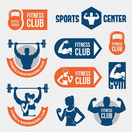 icono deportes: Etiquetas de gimnasia de color