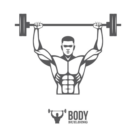 men body: Bodybuilder lifting barbell