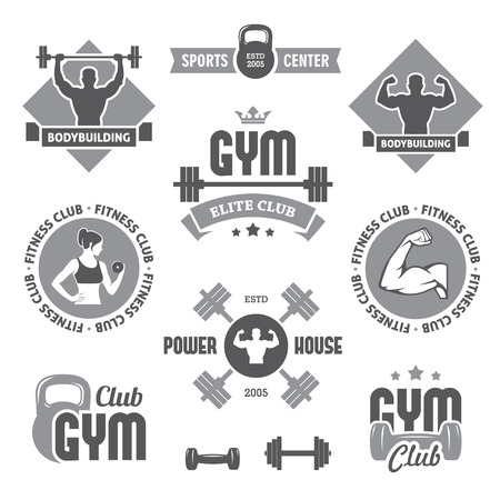 Monochrome gym labels