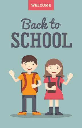 scuola: Illustrazione piatta della scuola sorridente ragazzo e una ragazza agitando le mani per tornare a scuola o bandiera poster design