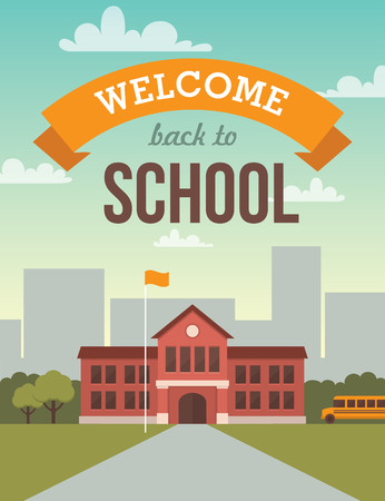 college: Bright flat illustration of school building for back to school banner or poster design