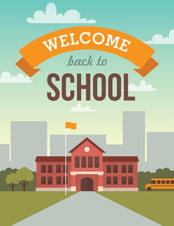 autobus escolar: Ilustración plana brillante del edificio de la escuela para volver a la bandera de la escuela o de diseño de carteles Vectores
