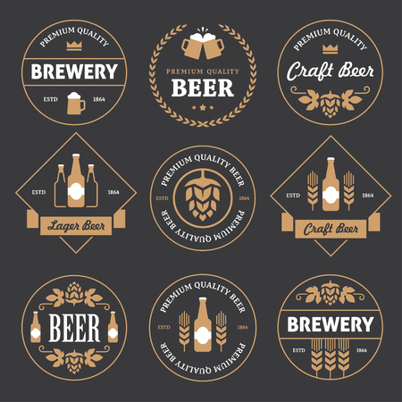 Set of round and rhombus beer labels, emblems and stamps in white and yellow colors on black background Vectores