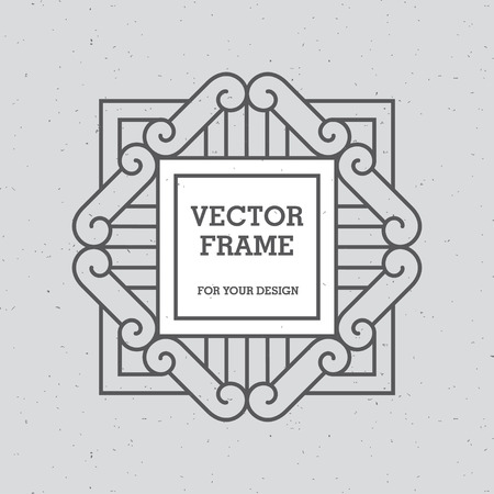 logo element: Black mono line frame on light gray background with retro texture. Can be used for greeting cards design, logo templates, monograms, emblems and badges in retro or hipster style.