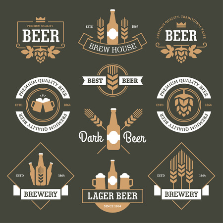 brewery  hops: Set of  beer labels, emblems, signs and symbols in white and yellow colors on dark green background Illustration