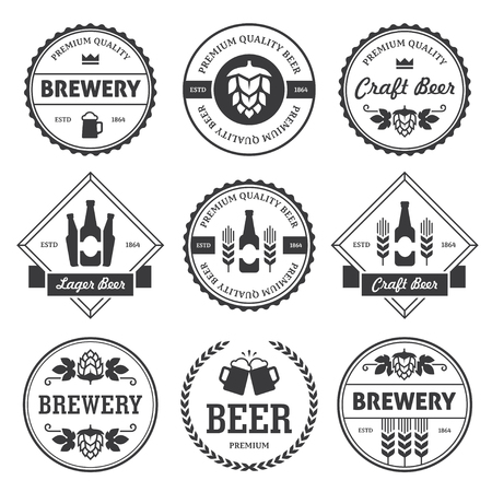 Set of black round and rhombus beer labels, emblems and stamps isolated on white background