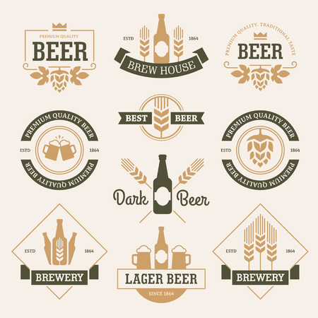 Set of  beer labels, emblems, signs and symbols in white and dark green colors isolated on light background Illustration