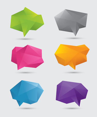polygons: Set of abstract blank colorful polygonal 3d speech bubbles. Isolated on light gray background. EPS10 Illustration