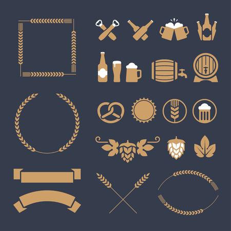 gorras: Conjunto de iconos de la cerveza de color ocre, signos y elementos de dise�o para la bandera, cartel, etiqueta o emblema de dise�o. Aislado en el fondo azul oscuro Vectores