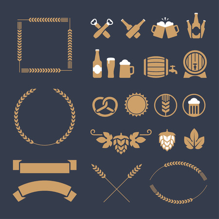 beer barrel: Set of ocher beer icons, signs and design elements for banner, poster, label or emblem design. Isolated on dark blue background Illustration