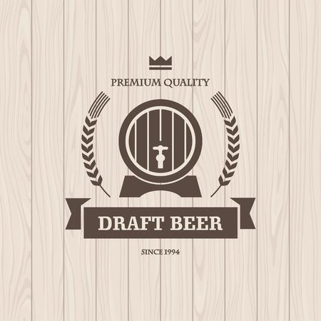 madera: Oscuro ilustración gráfica de color marrón con el barril y el trigo para la bandera cerveza de barril o de diseño de carteles con la luz textura de madera sin fisuras en el fondo