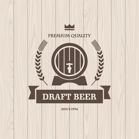 Dark brown graphic  illustration with barrel and wheat for draft beer banner or poster design with light seamless wooden texture on background