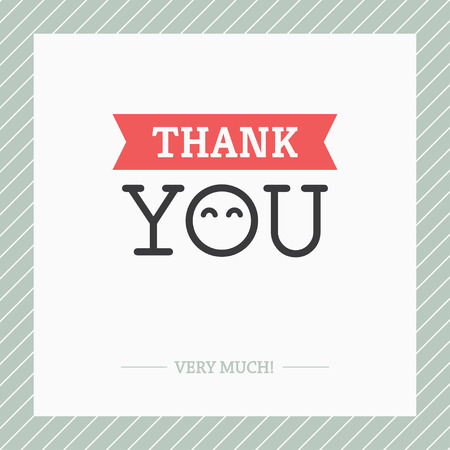 decorative card symbols: Creative minimalist Thank You card with O like abstract face with cute happy eyes Illustration