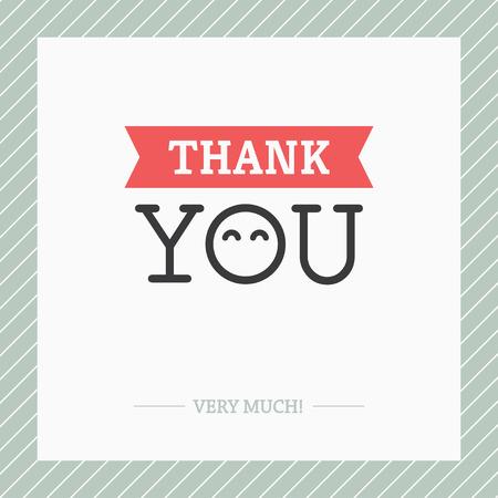 Kreativní minimalistický Děkuji kartu s O jako abstraktní tvář roztomilý šťastné očima