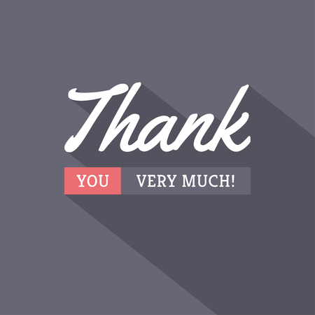 Thank You typographic card design in modern trendy style with long shadow on dark background