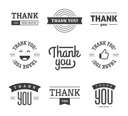 gratitude: Set of black thank you text designs with ribbons, happy face and thumb up like icon. Can be used for labels, emblems, stickers, tags, card, etc. Isolated on white background